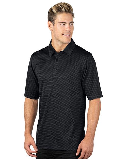 Tri-Mountain 038 Men 100% Polyester Knit Polo Shirts Black at bigntallapparel