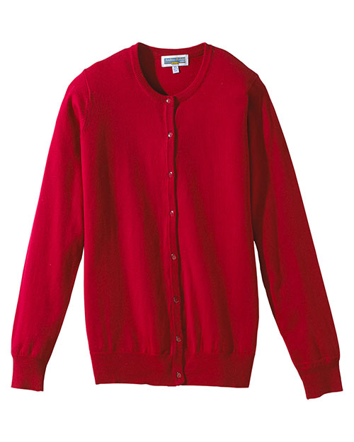 Edwards 040 Women Corporate Performance Jewel Neck Cardigan Red at bigntallapparel