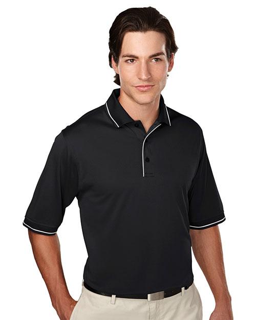 Tri-Mountain 058 Men 100% Polyester Knit Polo Shirts Black/Steelgray at bigntallapparel