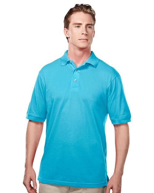 Tri-Mountain 095 Men Element Easy Care Short Sleeve Pique Golf Shirt Aquatic Blue at bigntallapparel