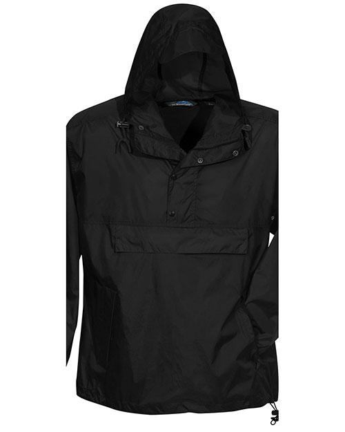 Tri-Mountain 1000 Men Unlined Nylon 1/2 Zip Anorak Hooded Jacket Black at bigntallapparel