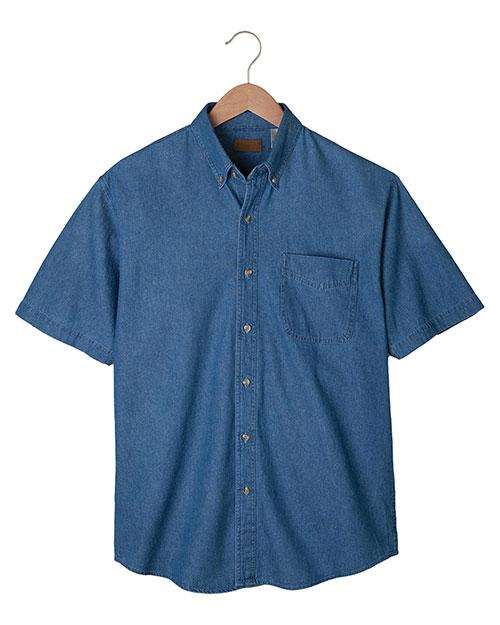 Edwards 1013 Men Mid-Weight Short Sleeve Denim Shirt Navy at bigntallapparel