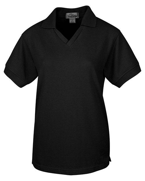 Tri-Mountain 101 Women 60/40 V-Neck Pique Golf Shirt Black at bigntallapparel