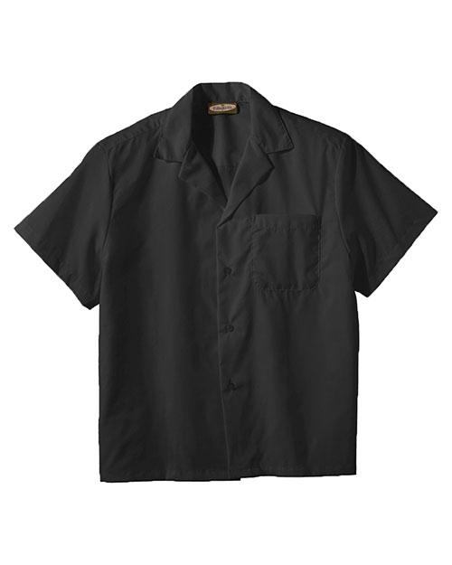 Edwards 1029 Men  Easy Care Poplin Camp Shirt Black at bigntallapparel