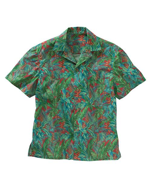 Edwards 1032 Men  Tropical Leaf Camp Shirt Red at bigntallapparel