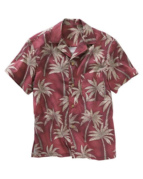 Edwards 1034 Men  Tropical Palm Camp Shirt Burgundy at bigntallapparel