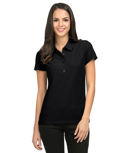 Tri-Mountain 103 Women Poly Ultracool Waffle Knit Golf Shirt Black at bigntallapparel