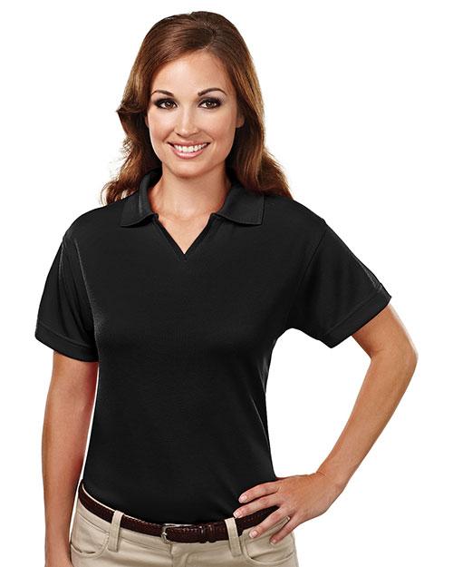 Tri-Mountain 104 Women Poly Ultracool Mesh Johnny Collar Golf Shirt Black at bigntallapparel