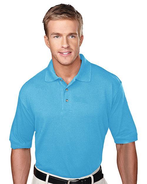 Tri-Mountain 105 Men Pique Polo Golf Shirt With Three Horn Buttons Aquatic Blue at bigntallapparel