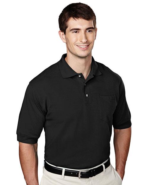 Tri-Mountain 106 Men 60/40 Pique Pocketed Golf Shirt Black at bigntallapparel