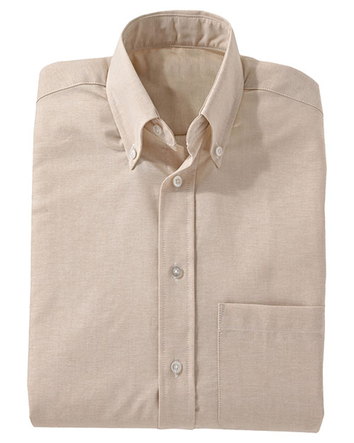 Edwards 1077 Men Easy Care Long Sleeve Oxford Tan at bigntallapparel