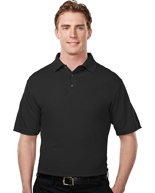 Tri-Mountain 108 Men Micromesh Polo Golf Shirt Black at bigntallapparel