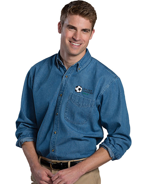 Edwards 1090 Men Heavy Weight Long Sleeve  Denim Shirt Navy at bigntallapparel