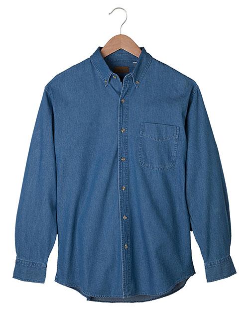 Edwards 1093 Men Mid-Weight Long Sleeve Denim Shirt Navy at bigntallapparel
