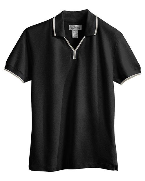 Tri-Mountain 112 Women 60/40 Ultracool Mesh Johnny Collar Golf Shirt Black/Khaki/White at bigntallapparel