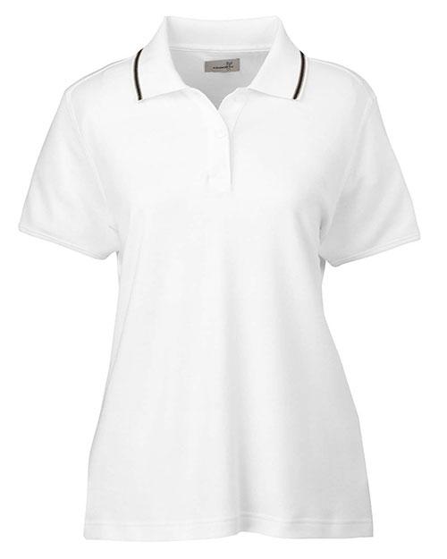 Ashworth 1149C Women Performance Wicking Blend Polo White/Khaki/Black at bigntallapparel