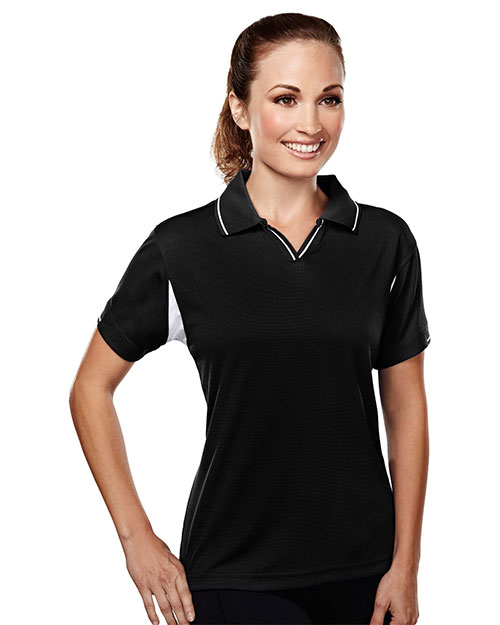 Tri-Mountain 114 Women Poly Ultracool Waffle Knit Golf Shirt Black at bigntallapparel