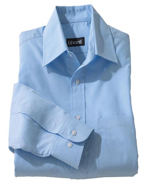 Edwards 1160 Women Traditional Long Sleevve Broadcloth Shirt blue at bigntallapparel