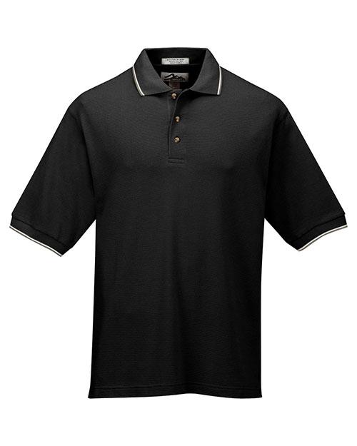 Tri-Mountain 116 Men Big And Tall Ultracool Mesh Polo Golf Shirt Black/Khaki/White at bigntallapparel