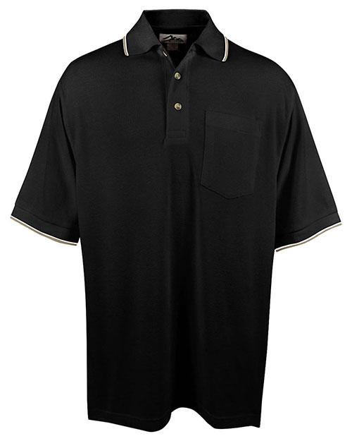 Tri-Mountain 117 Men Big And Tall Ultracool Mesh Pocketed Polo Golf Shirt Black/Khaki/White at bigntallapparel