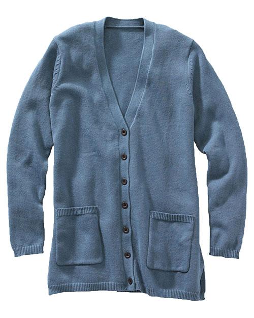 Edwards 119 Women V-Neck Long Cardigan Slate Blue at bigntallapparel