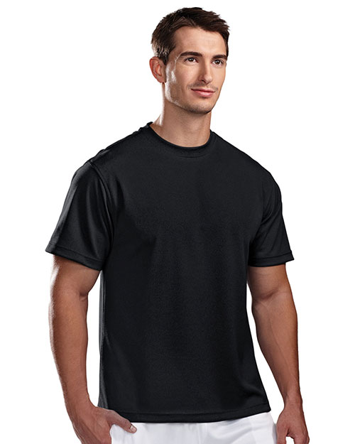Tri-Mountain 122 Men Ultracool Pique Crewneck T Shirt Black at bigntallapparel