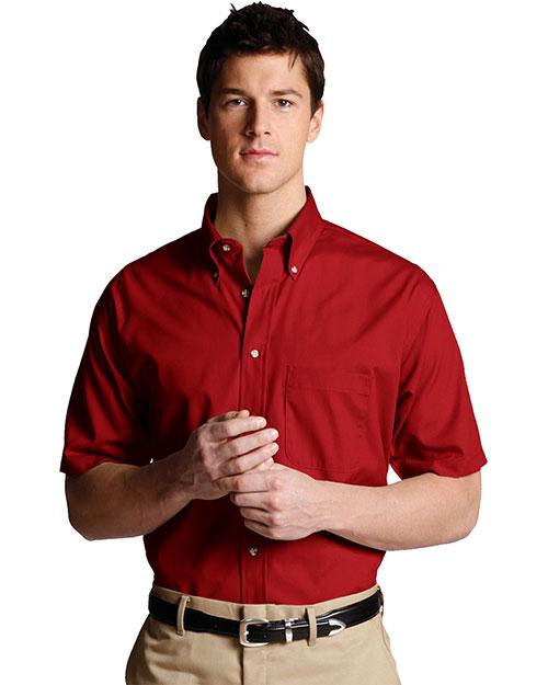 Edwards 1230 Men Easy Care Short Sleeve Poplin Shirt Brick at bigntallapparel