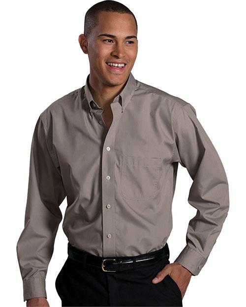 Edwards 1295 Men Long Sleeve Soft Touch Poplin Shirt Mocha at bigntallapparel