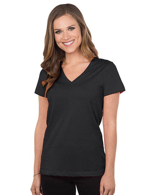 Tri-Mountain 130 Women Cotton Jersey Short Sleeve V-Neck Knit Black at bigntallapparel