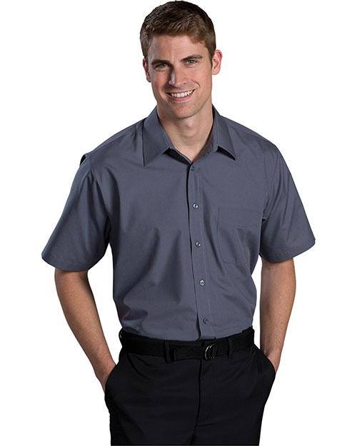 Edwards 1313 Men Short Sleeve Value Broadcloth Shirt Dark Grey at bigntallapparel