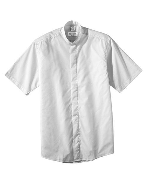 Edwards 1346 Women Short Sleeve Banded Collar Shirt White at bigntallapparel