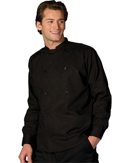 Edwards 1351 Men Double Breasted Server Shirt Long Sleeve Black at bigntallapparel