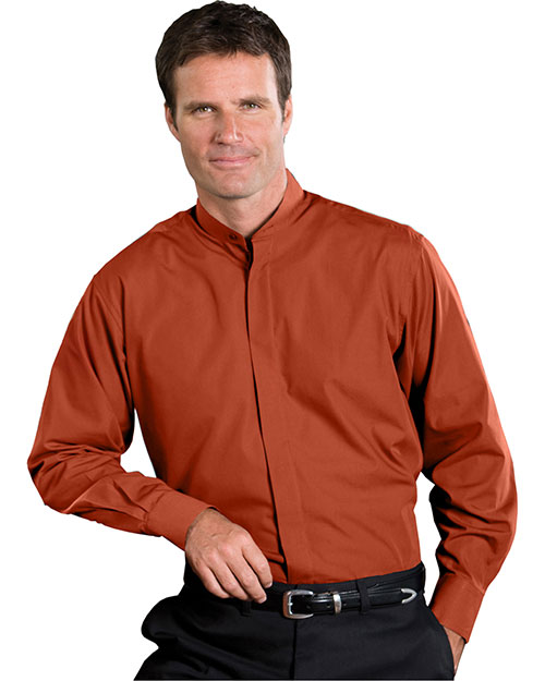 Edwards 1396 Men Long Sleeve Banded Collar Shirt Rust at bigntallapparel