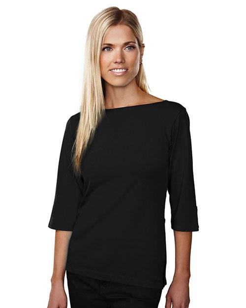 Tri-Mountain 139 Women Cotton/Poly 60/40 Knit Top, W/ 3/4 Sleeve Black at bigntallapparel