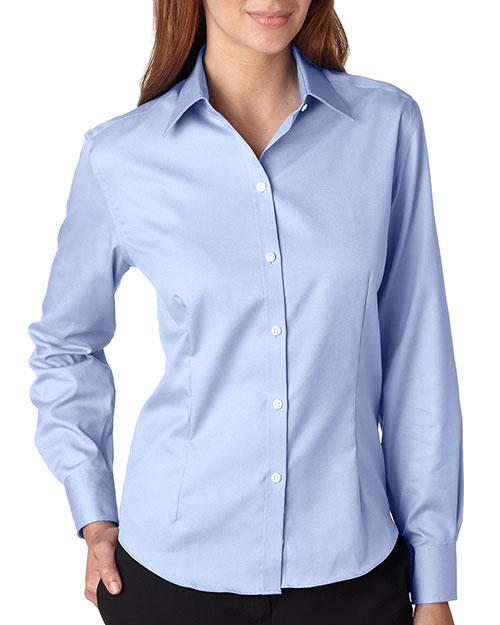 Van Heusen V0144 Women Longsleeve Noniron Pinpoint Oxford Blue Mist at bigntallapparel