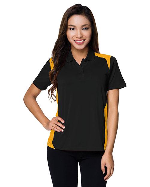 Tri-Mountain 143 Women 100% Polyester Uc Knit Polo Shirt Black/Gold at bigntallapparel
