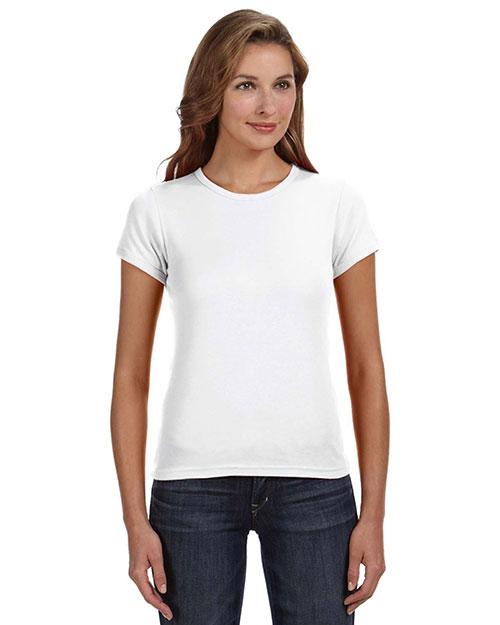 Anvil 1441 Women 1x1 Rib Scoop Neck T-Shirt White at bigntallapparel