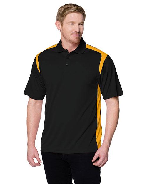 Tri-Mountain 145 Men 100% Polyester Uc Knit Polo Shirt Black/Gold at bigntallapparel