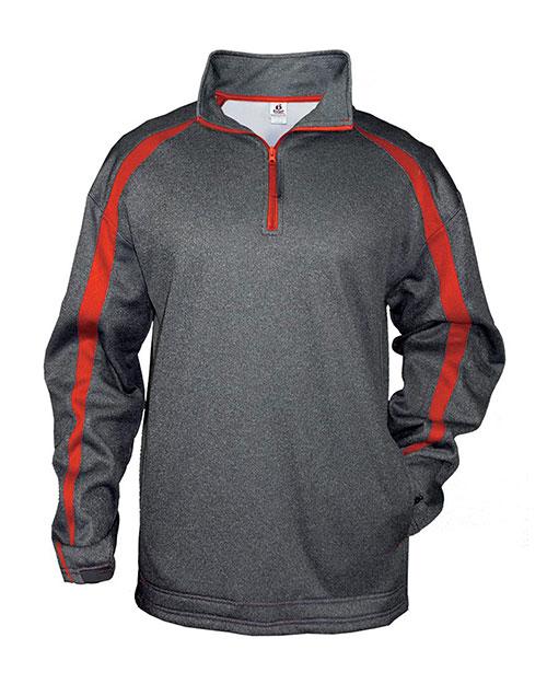 Badger 1481 Men Pro Heathered Fleece Fusion ¼ Zip Front Shirt Carbon/ Red at bigntallapparel