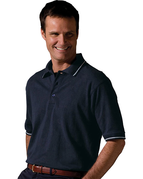 Edwards 1510 Men Short Sleeve Tipped Collar And Cuff Polo Navy at bigntallapparel