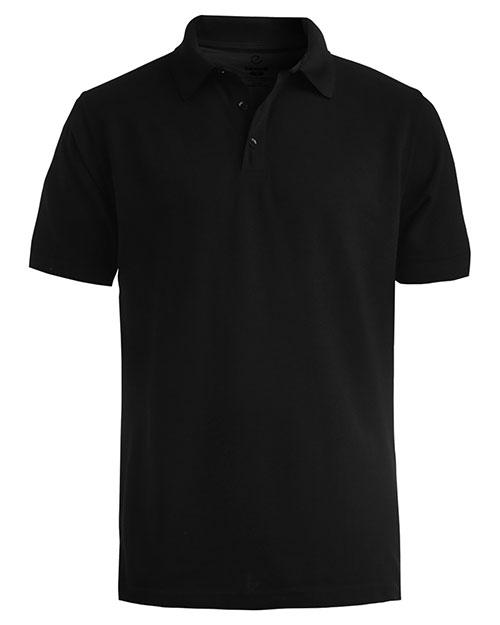 Edwards 1530 Men Short Sleeve All Cotton Pique Polo Black at bigntallapparel