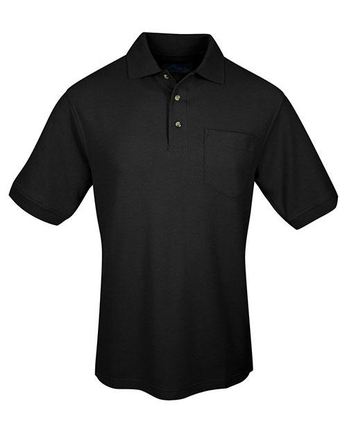 Tri-Mountain 169 Men Cotton Pique Pocketed Golf Shirt Black at bigntallapparel