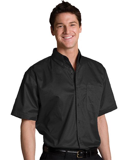 Edwards 1740 Men Big & Tall Left Chest Pocket Short Sleeve Twill Shirt Black at bigntallapparel