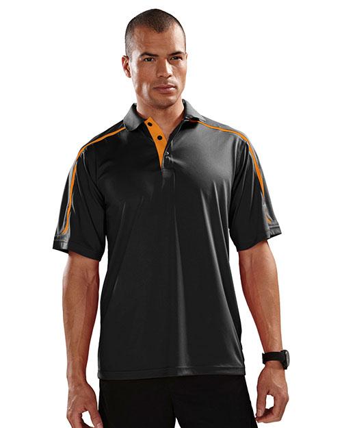 Tri-Mountain 174 Men 100% Polyester Uc Knit Polo Shirt Black/Orange at bigntallapparel