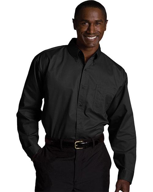Edwards 1750 Men Cottonplus Long Sleeve Twill Shirt Black at bigntallapparel