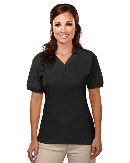 Tri-Mountain 186 Women Cotton Baby Pique Y-Neck Golf Shirt Black at bigntallapparel