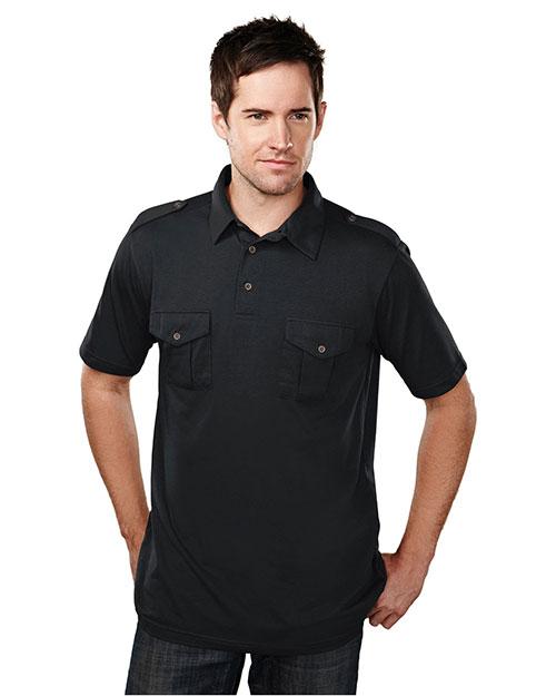 Tri-Mountain 187 Men Cotton/Poly 60/40 Knit Polo Shirt, W/ Epaulette Black at bigntallapparel