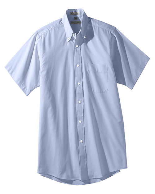 Edwards 1925 Men Short Sleeve Pinpoint Oxford Shirt blue at bigntallapparel