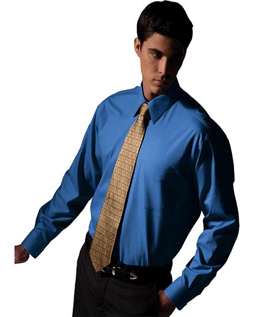 Edwards 1965 Men Long Sleeve Pinpoint Oxford Shirt French Blue at bigntallapparel