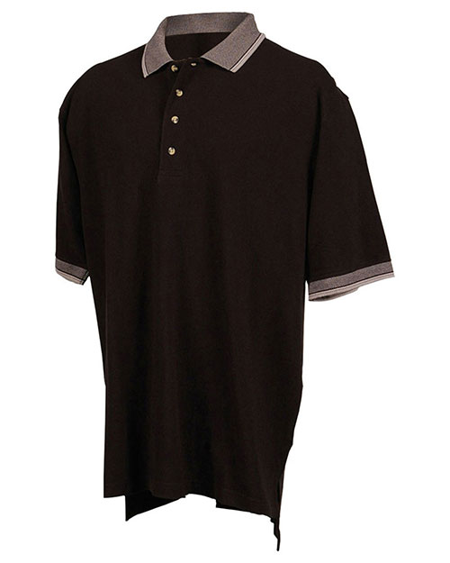 Tri-Mountain 196 Men Big And Tall Pique Polo Golf Shirt With Jacquard Trim Black/Gray at bigntallapparel